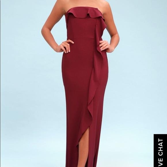 f742f33a0cb6 Lulu's Dresses & Skirts - Valerie Burgundy Ruffled Strapless Maxi Dress